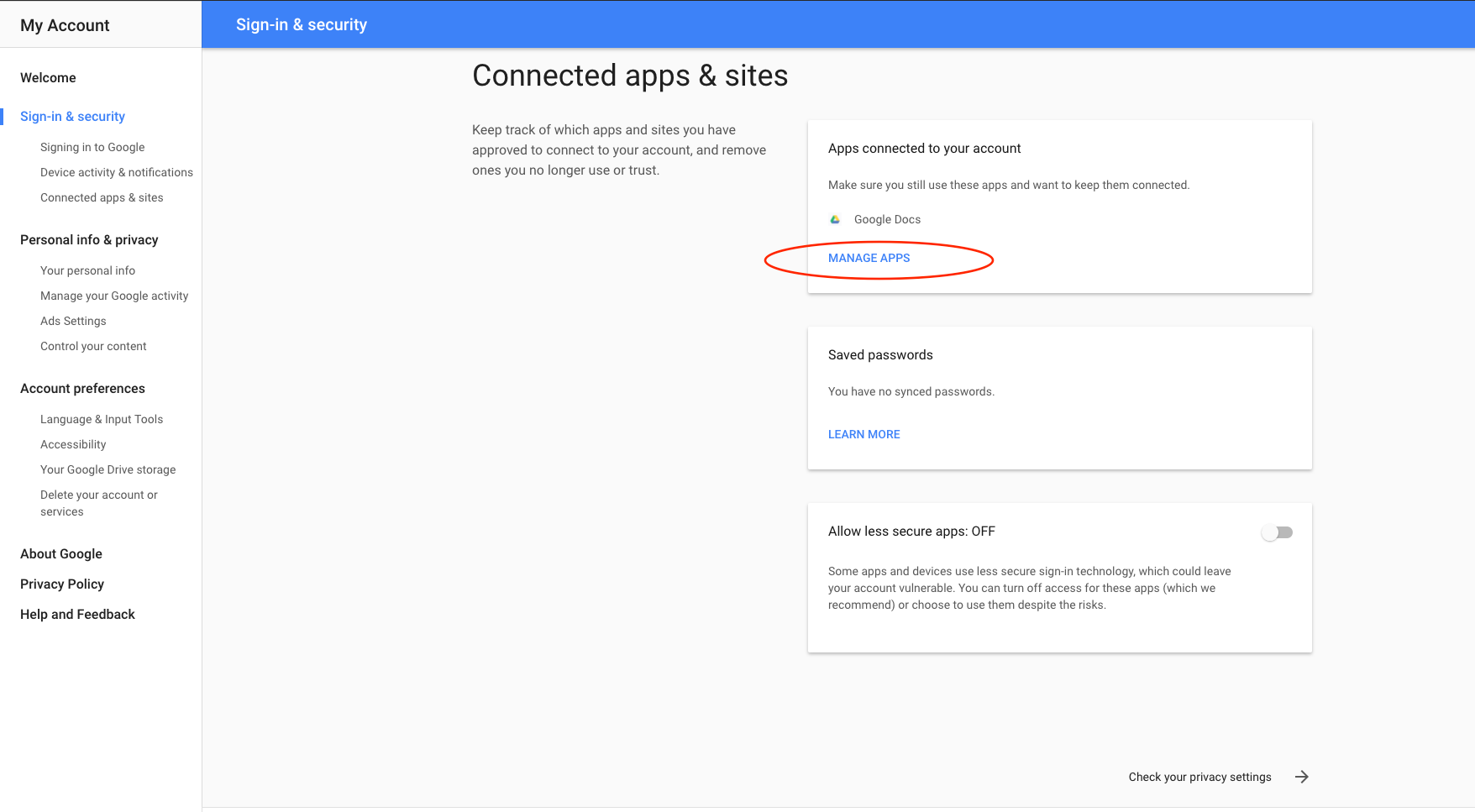 how to change what has access to my google account