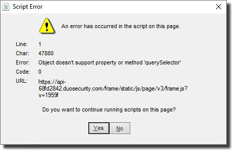 Dialog box titled Script Error. First line reads An error has occurred in the script on this page.