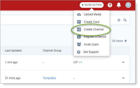 Appspace quick action menu showing Create Channel selection