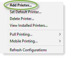 PrinterLogic client menu, showing Add Printer option at the top