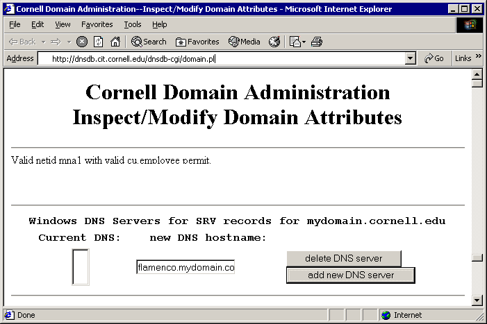 Configure Windows 2003 Active Directory to Use Cornell's DNS