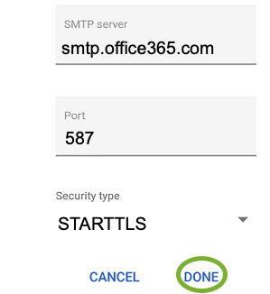 SMTP settings for Office 365: set the SMTP server to smtp.office365.com and use port 587 and set the encryption to STARTTLS.