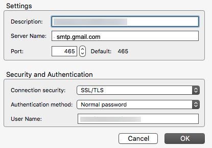 Set hostname to smtp.gmail.com and server port to 465.