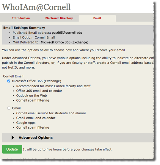 Email Delivery Options (Graduate/Professional Students) | IT@Cornell