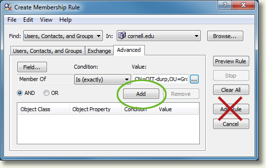 Create Membership Rules for Dynamic Groups (CornellAD Group