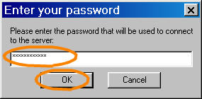 Window to enter password