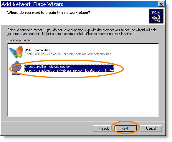 Add network place choose a location