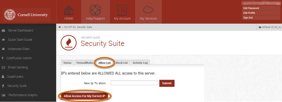 Media3 Security Suite panel with Allow List and Allow Access to my Current IP selected