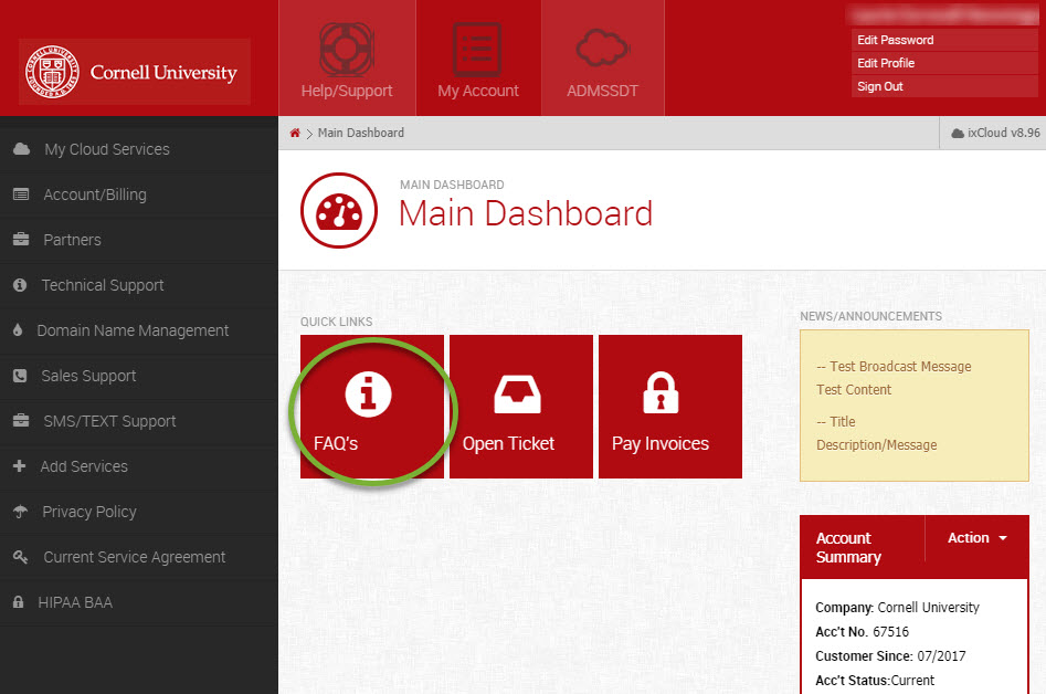 Picture of Media3 dashboard with FAQ button highlighted