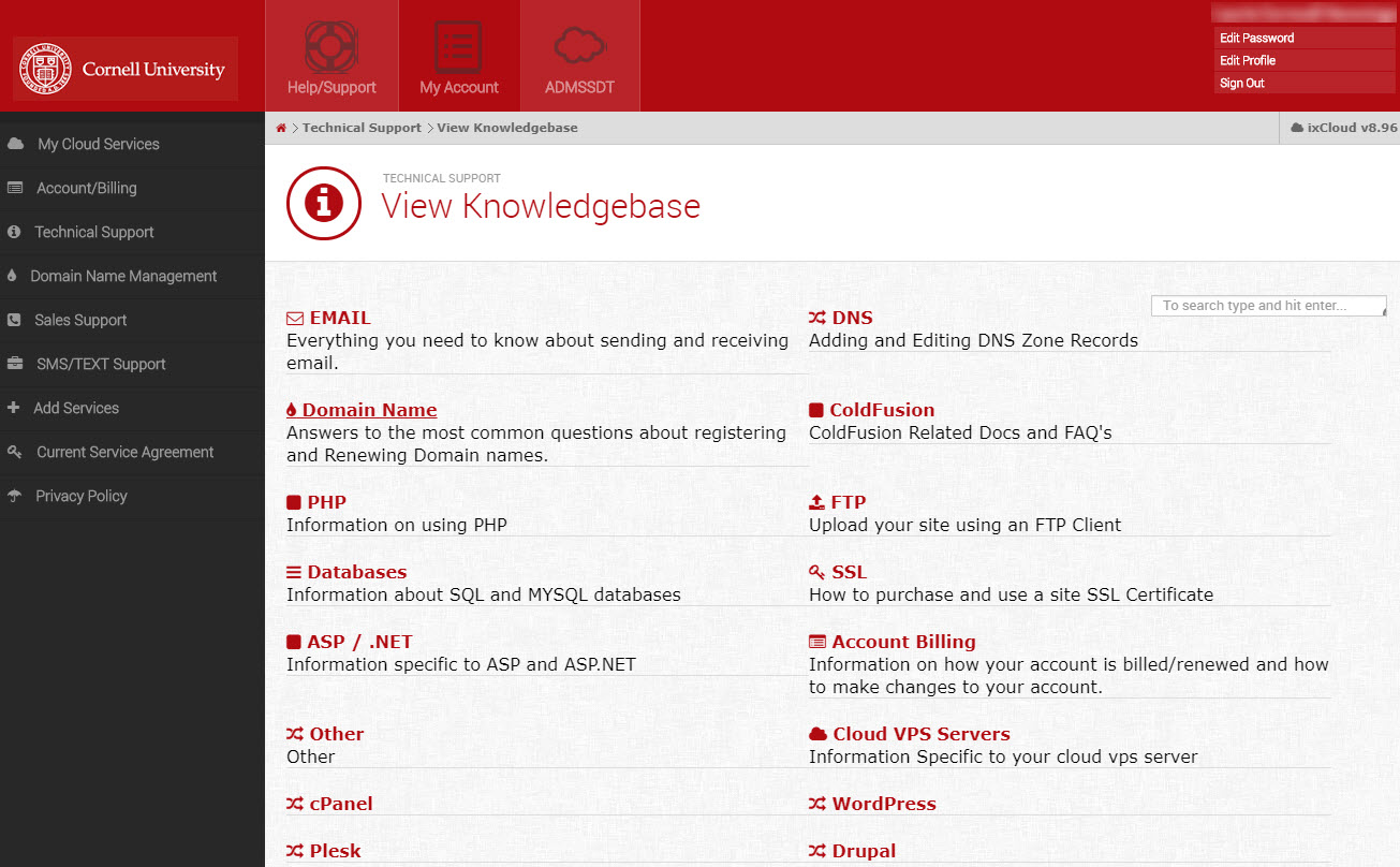 Picture of Media3 Knowledge Base with topics including domain name, PHP, ASP/.Net, SSL, databases, Drupal, Wordpress