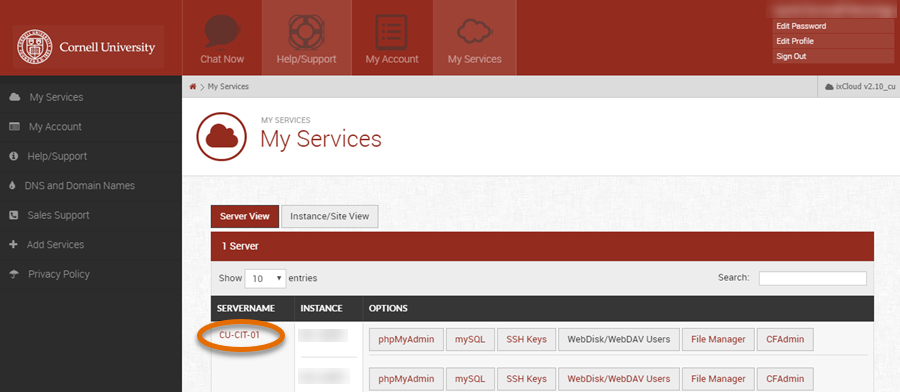 Media3 Dashboard with server name selected.