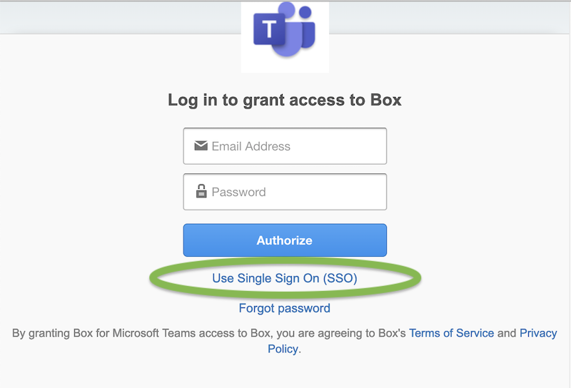"Instead of entering login information in ""Log in to grant access to Box,"" select ""Use Single Sign On (SSO)"
