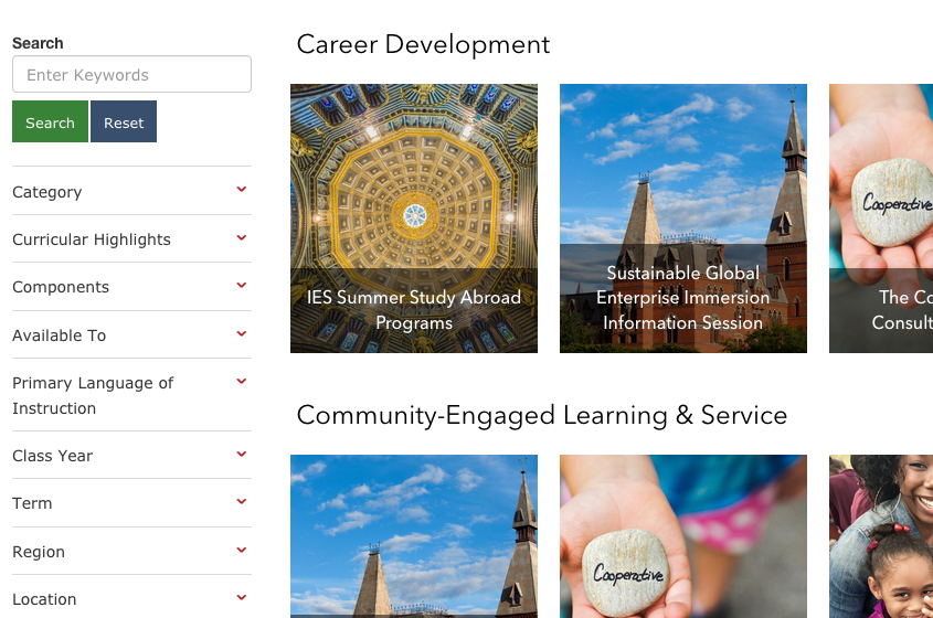 Opportunities webpage from experience.cornell.edu