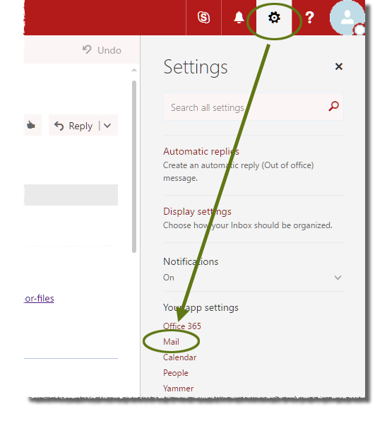 In Outlook Web On The Red Cornell Themed Toolbar Click Gear Icon Then Under Your Settings Mail