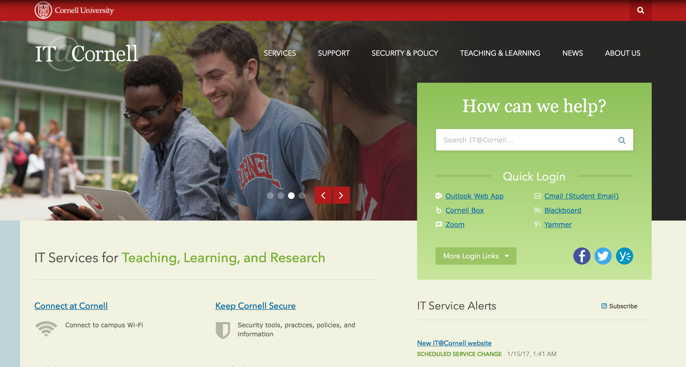 IT@Cornell Website Homepage