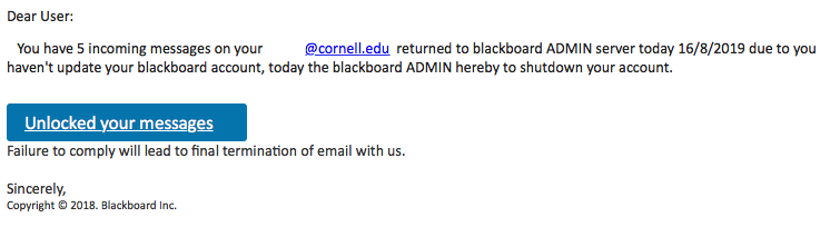 Blackboard phishing example