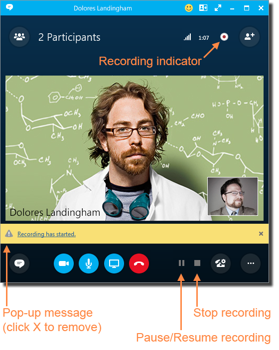 record a meeting  skype for business for windows