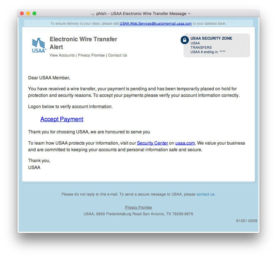 USAA phishing email example