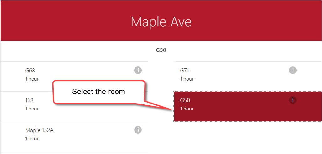 Select the room number in the study space app