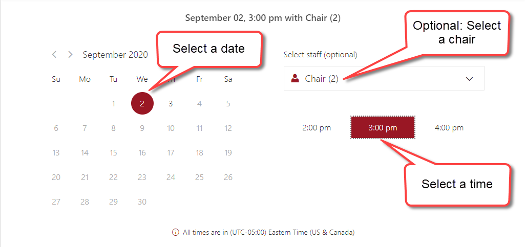 Select a date and time in the study space app