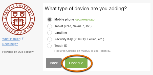 Two-Step Prompt showing device types with Continue selected.