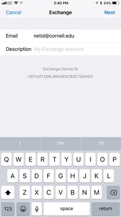 Picture of Exchange settings with a NetID@cornell.edu entered
