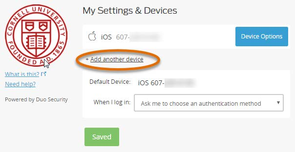 Add another device with link selected
