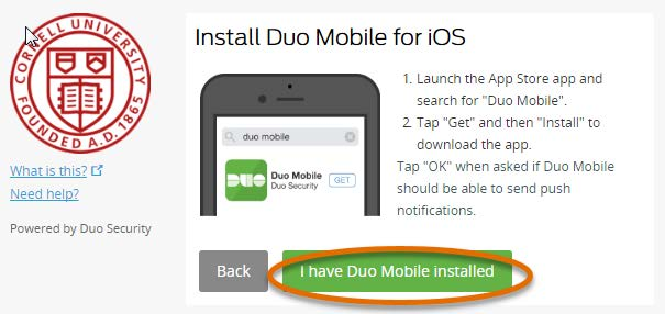 I have the Duo Mobile app installed button selected