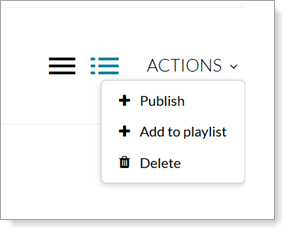Video on Demand Actions dropdown menu