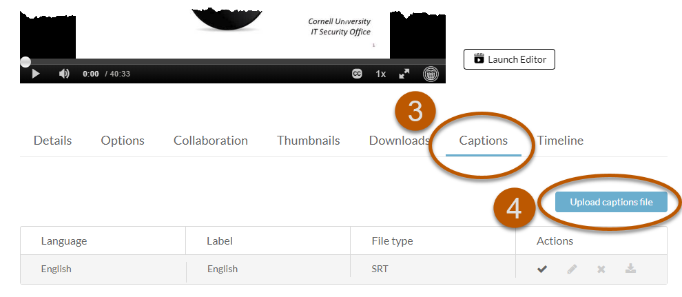 Captions tab selected with Upload Captions file highlighted