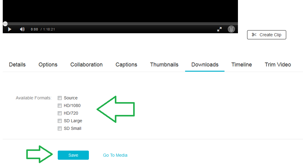 Picture of Available Download Formats with the format choices and save button highlighted