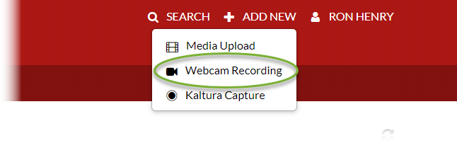 Video on Demand Add New menu, showing Webcam Recording as second option from top