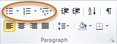 Home tab ribbon in Microsoft Word with the bullet list, numbered list, and multilevel list icons highlighted