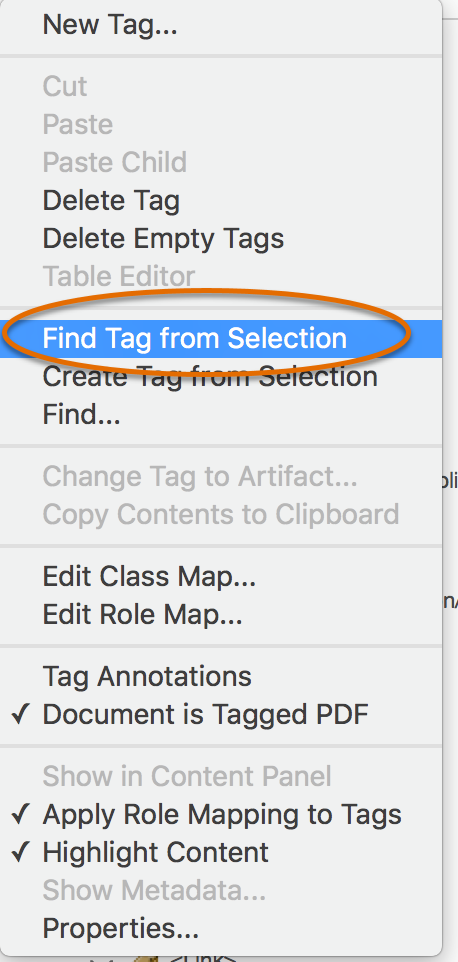 Menu with Find Tag from Selection highlighted
