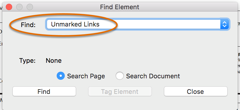 Find element menu with find unmarked links selected