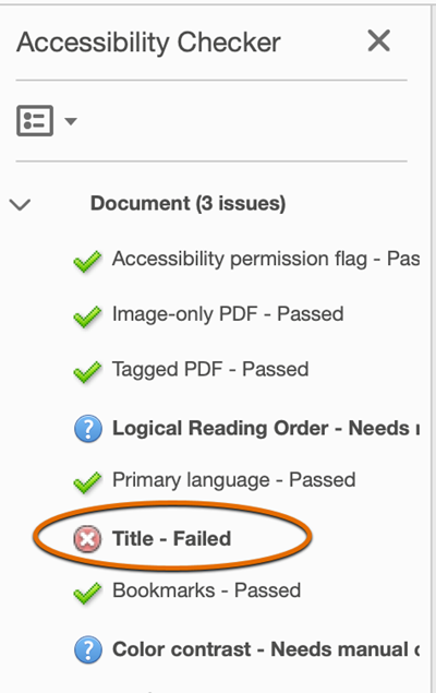 Acrobat accessibility checker fails the title check