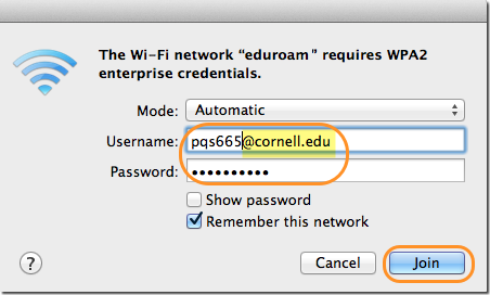 Wi-Fi credentials window