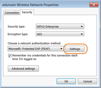 Wi-Fi Settings window