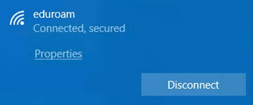 Windows 10 network connection message, Connected, secured