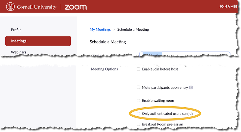 To require Zoom meeting attendees to authenticate, select only authenticated users when scheduling a meeting