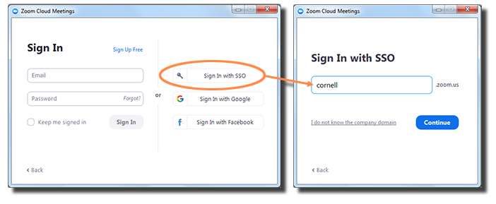 Zoom screen showing Join a Meeting and Sign In. Choose Sign In with SSO.