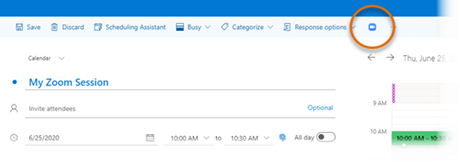 In Outlook on the Web, in meeting menus Zoom options can be accessed through a blue Zoom icon (stylized camera).