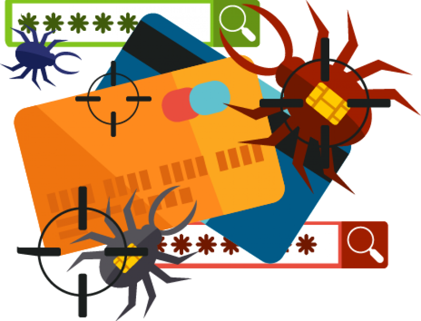 Image of spiders with credit cards